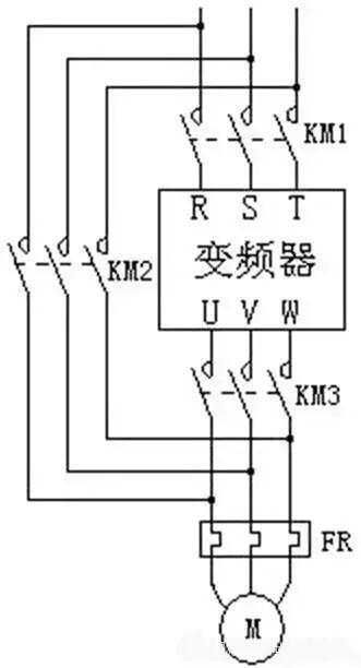 一台变频器控制一台电动机,且不要求与工频进行切换时,变频器与电动机